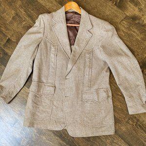 Pendleton Vintage Brown & Tan Houndstooth Blazer